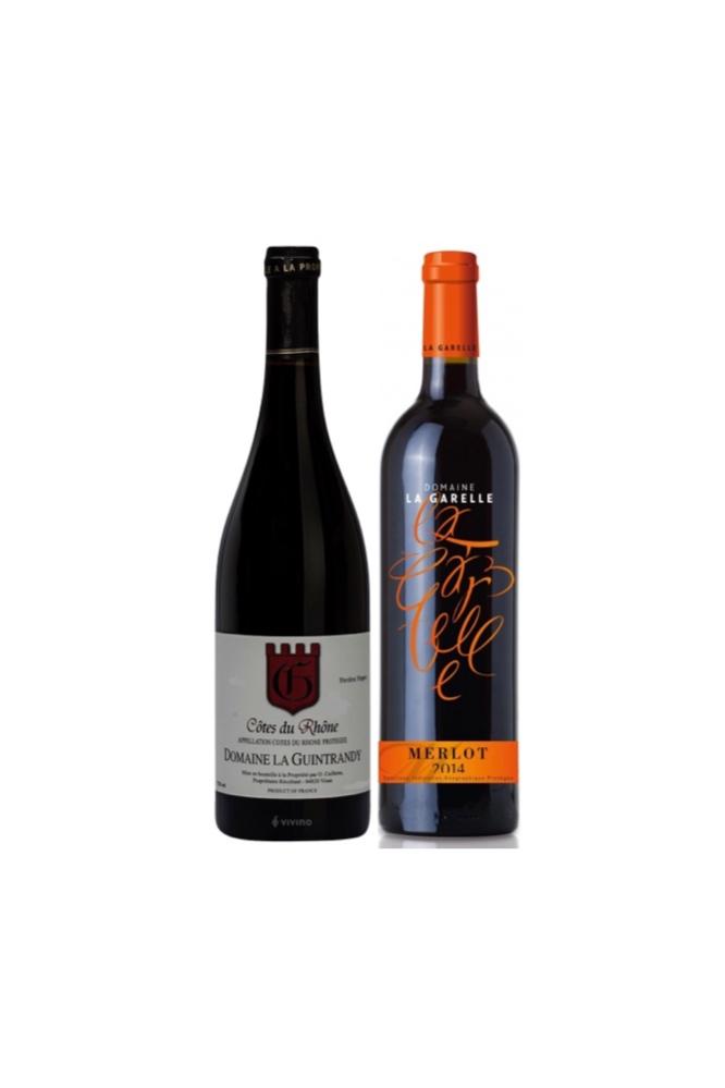$39 for 2 Bottles of Exclusive French Wine, Cotes du Rhone + Domaine La Garelle Merlot