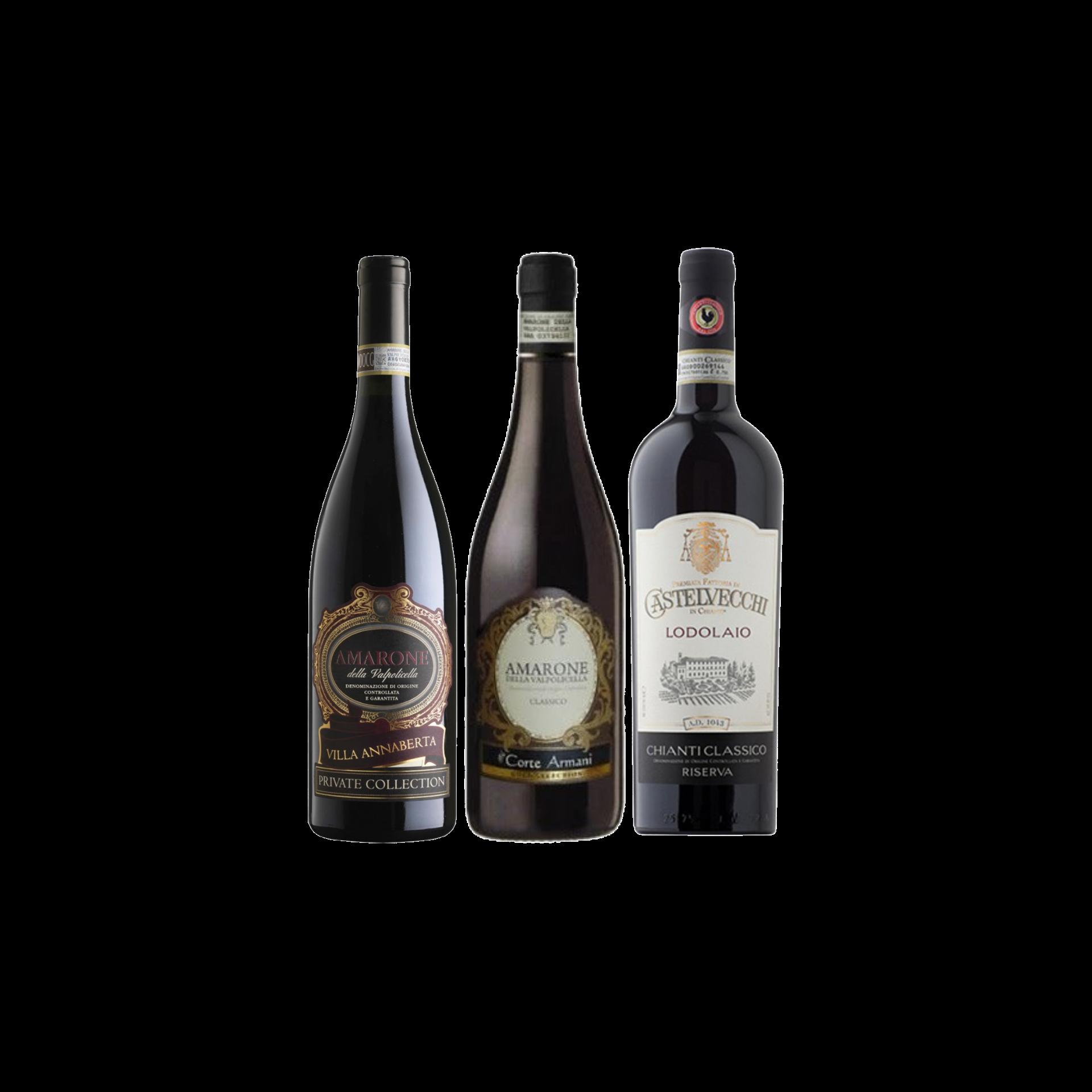 【Bundle B】 Enjoy 2 Bottles of Amarone Plus Chianti Riserva At Only $244 With A Free Set of 6 Schott Zwiesel Wine Glass worth $90
