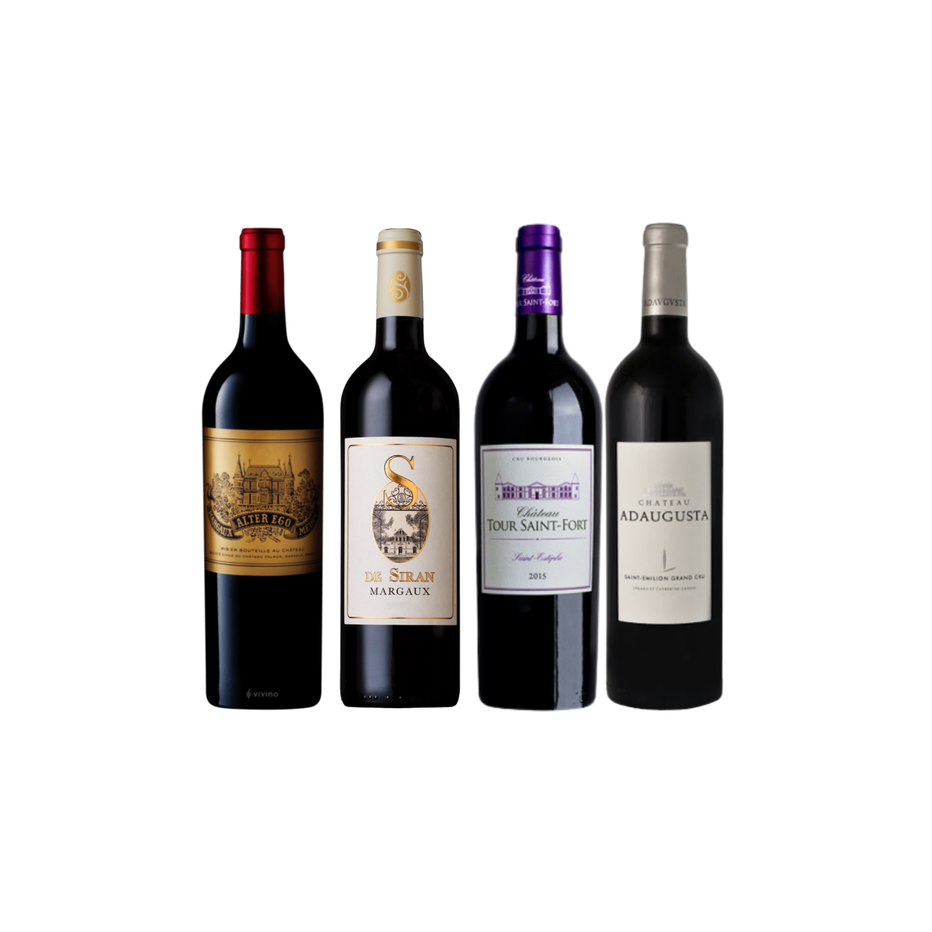 Enjoy 3 Bottles of French Red Wine From Margaux and Saint-Estephe at Only $199 And Top-Up $48 for A Bottle of Adaugusta Saint Emilion Worth $68