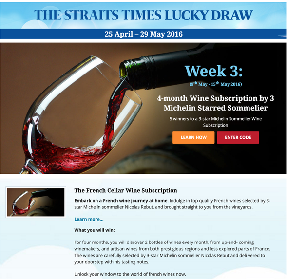 THE STRAITS TIMES LUCKY DRAW with The French Cellar